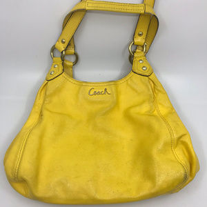 COACH Yellow Leather Edie Shoulder Bag